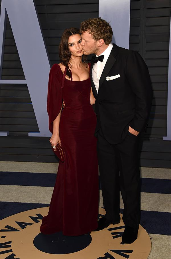 Emily Ratajkowski and Sebastian Bear-McClard at the *Vanity Fair* Oscars party.