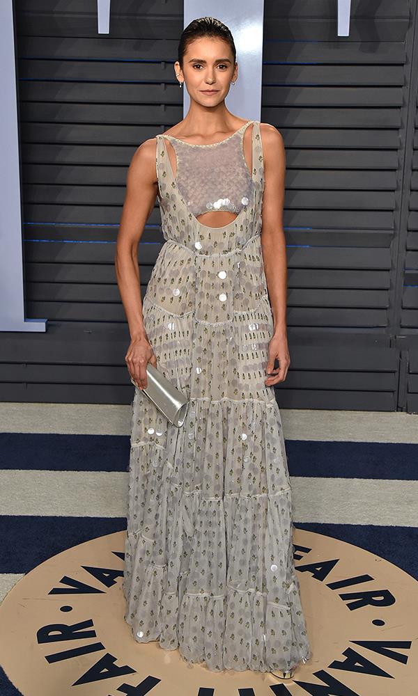Nina Dobrev at the *Vanity Fair* Oscars party.