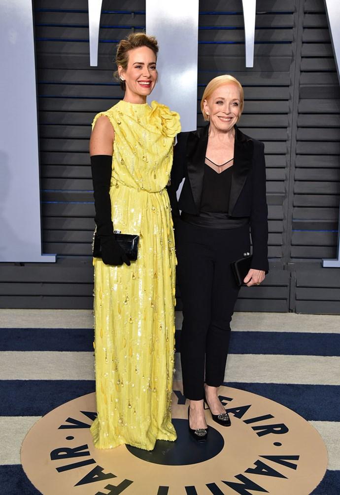 Sarah Paulson and Holland Taylor at the *Vanity Fair* Oscars party.