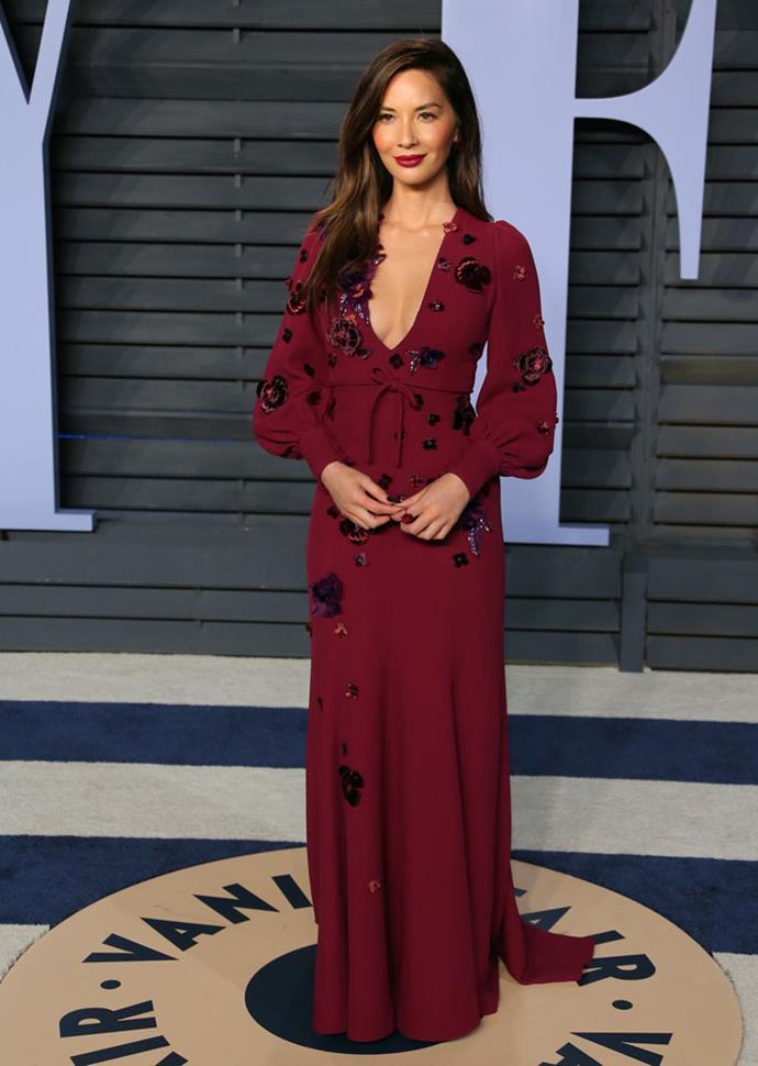 Olivia Munn at the *Vanity Fair* Oscars party.