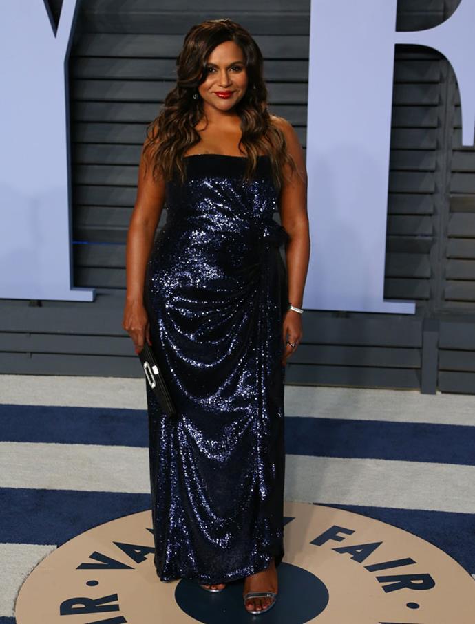 Mindy Kaling at the *Vanity Fair* Oscars party.