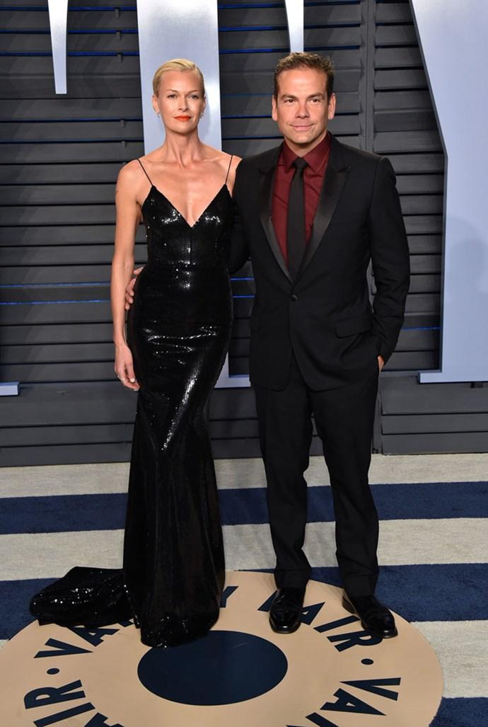 Sarah Murdoch and Lachlan Murdoch at the *Vanity Fair* Oscars party.
