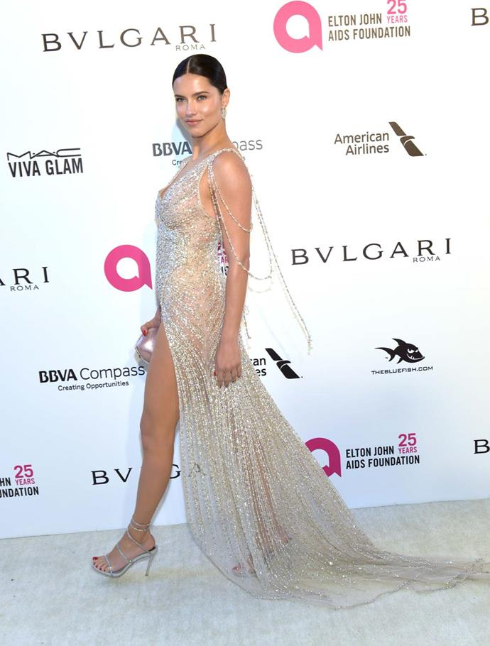 Adriana Lima at Elton John's viewing party.