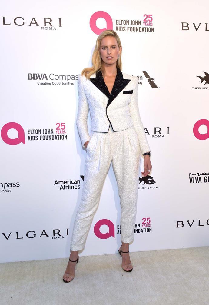 Karolina Kurkova at Elton John's viewing party.