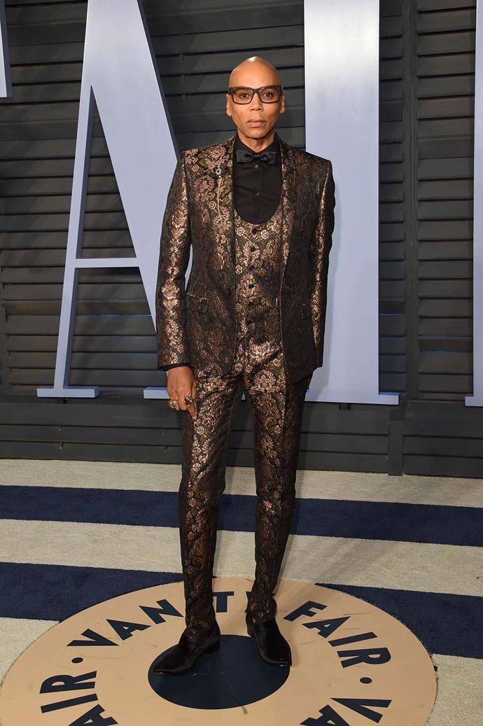RuPaul Charles at the *Vanity Fair* Oscars party.