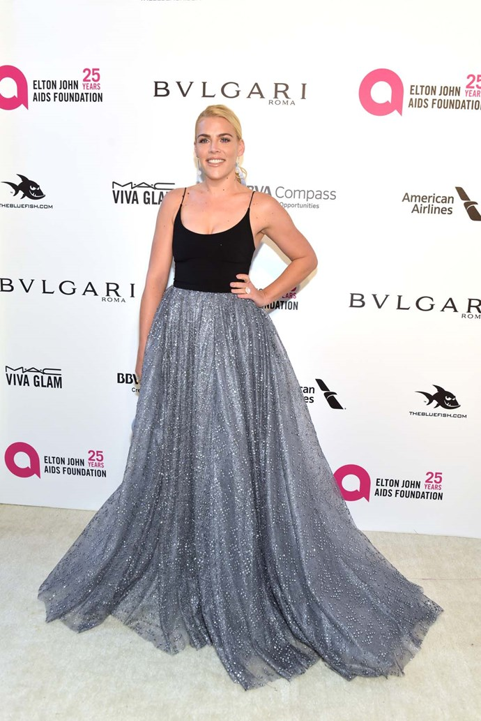 Busy Philipps at Elton John's viewing party.
