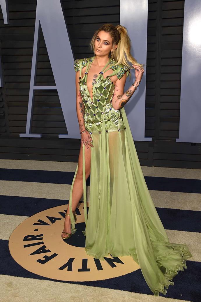 Paris Jackson at the *Vanity Fair* Oscars party.