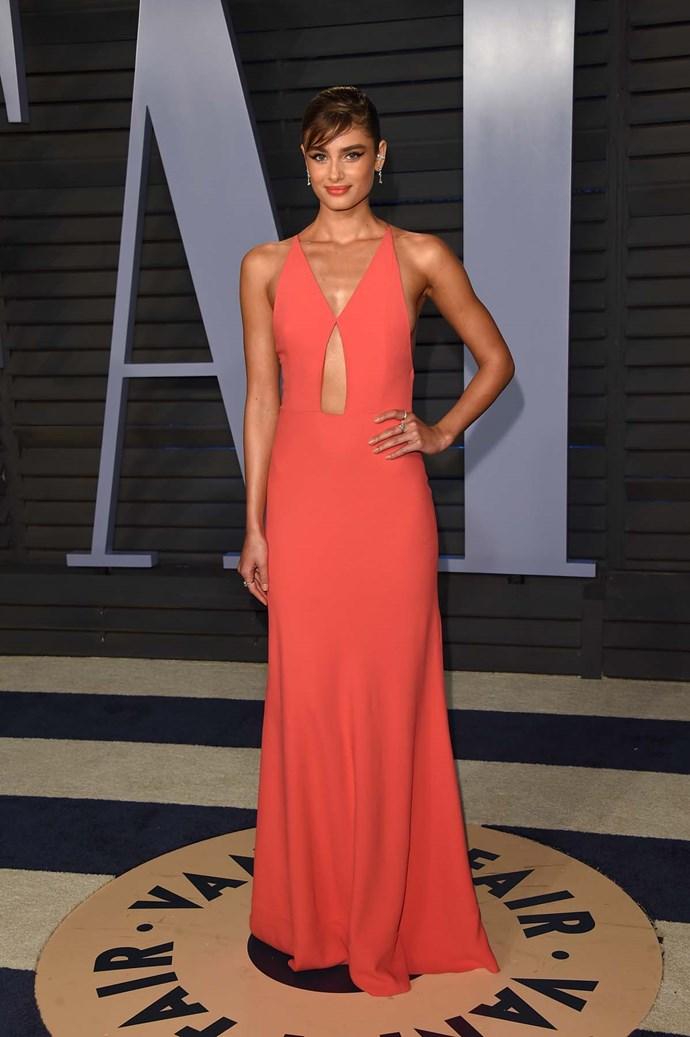 Taylor Hill at the *Vanity Fair* Oscars party.