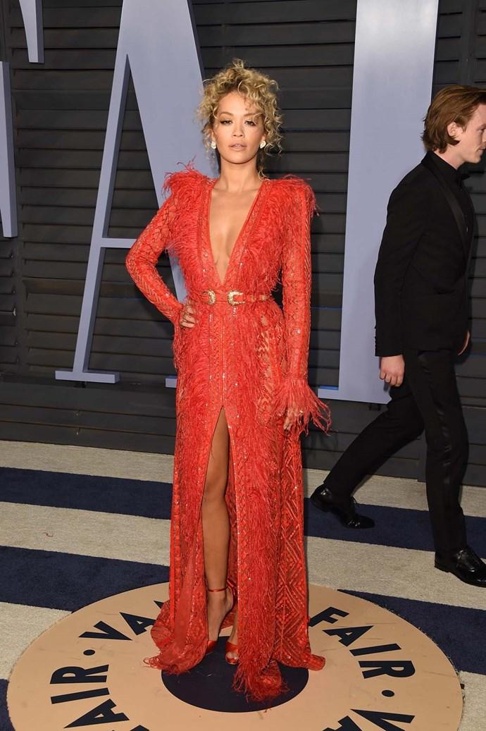 Rita Ora at the *Vanity Fair* Oscars party.