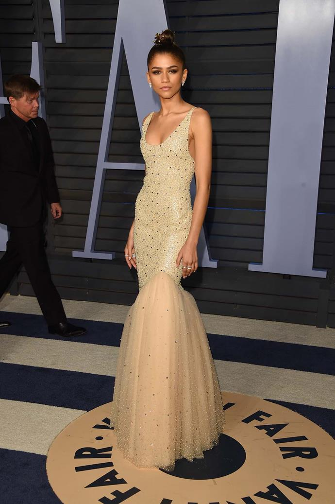 Zendaya at the *Vanity Fair* Oscars party.