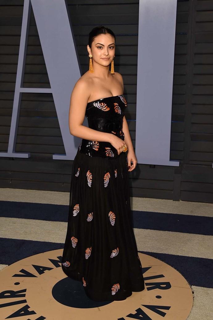 Camila Mendes at the *Vanity Fair* Oscars party.