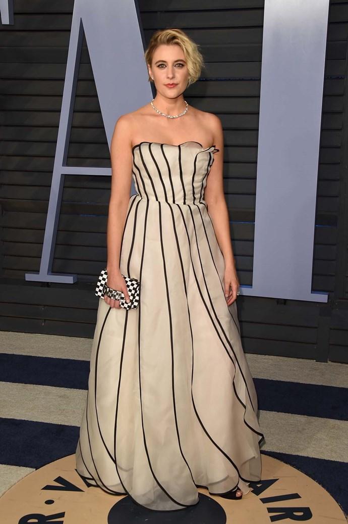 Greta Gerwig at the *Vanity Fair* Oscars party.