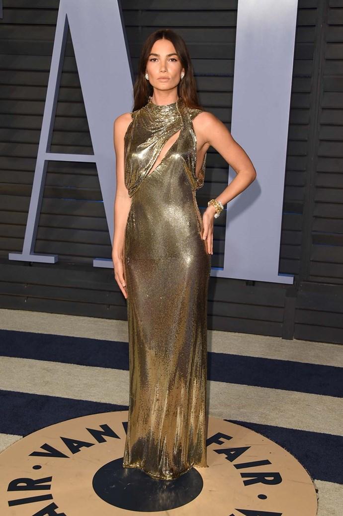 Lily Aldridge at the *Vanity Fair* Oscars party.