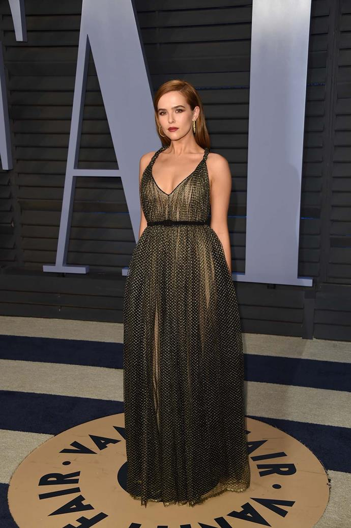Zoey Deutch at the *Vanity Fair* Oscars party.
