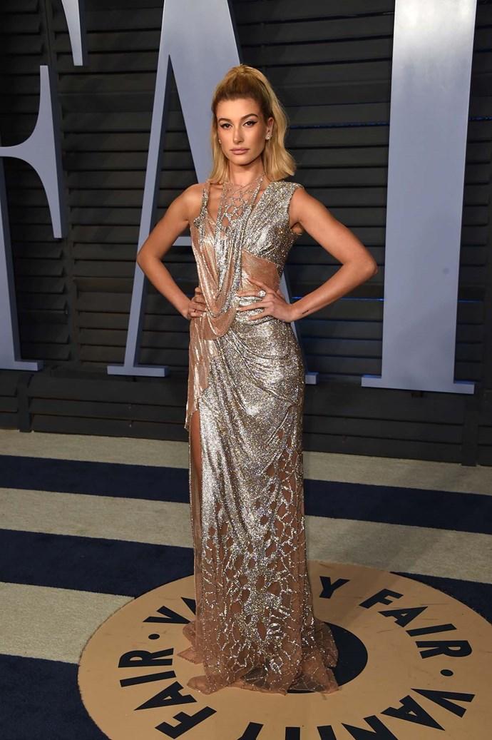 Hailey Baldwin at the *Vanity Fair* Oscars party.