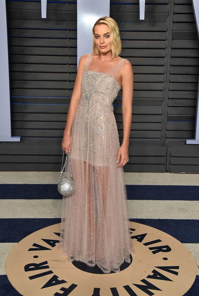 Margot Robbie at the *Vanity Fair* Oscars party.