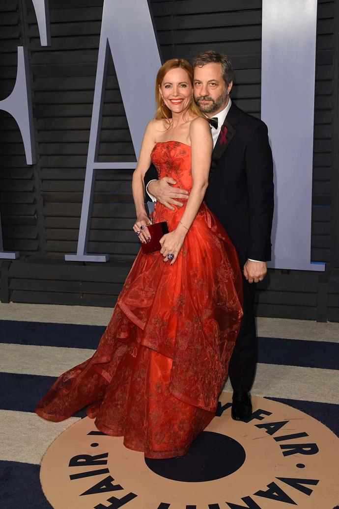 Leslie Mann and Judd Apatow at the *Vanity Fair* Oscars party.