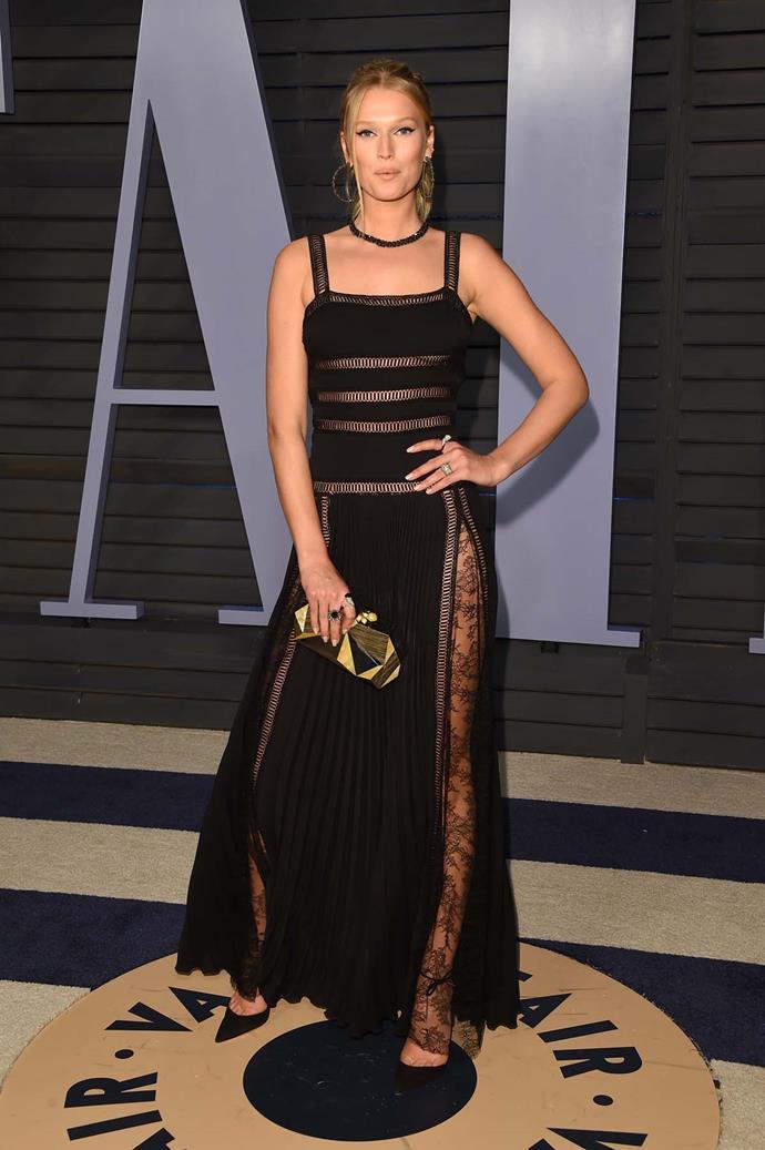 Toni Garrn at the *Vanity Fair* Oscars party.