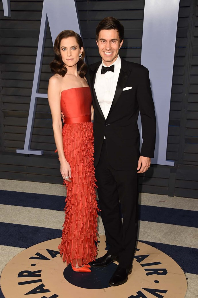 Allison Williams and Ricky Van Veen at the *Vanity Fair* Oscars party.