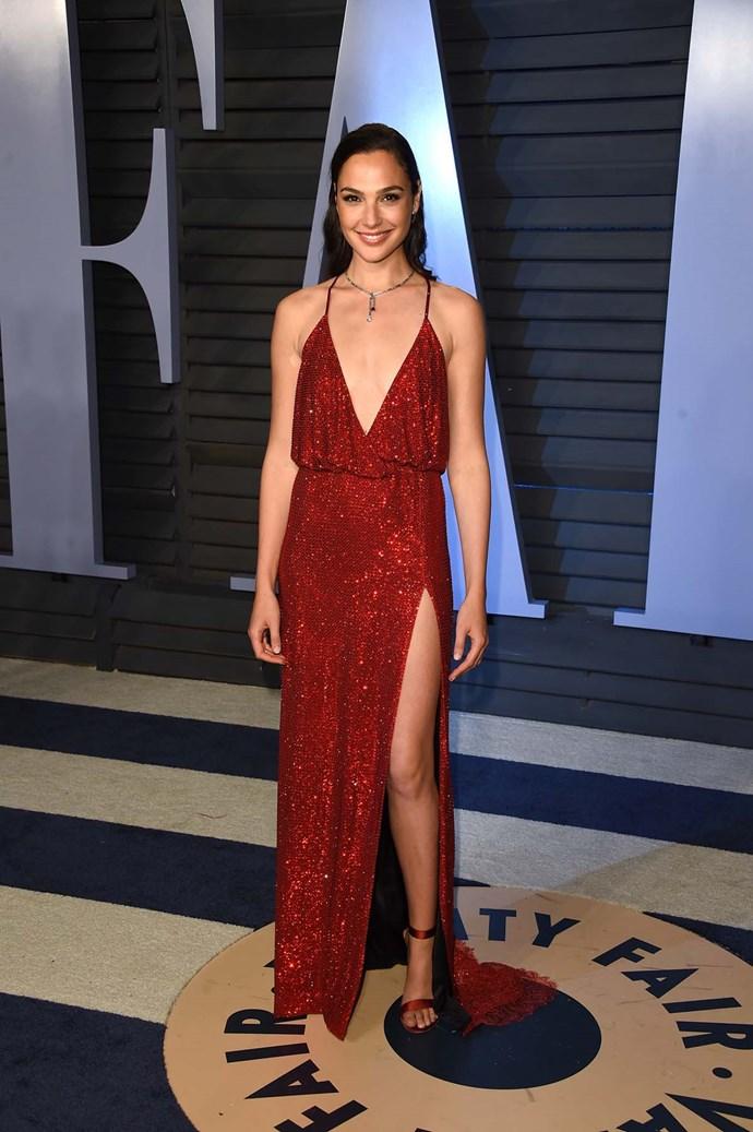 Gal Gadot at the *Vanity Fair* Oscars party.