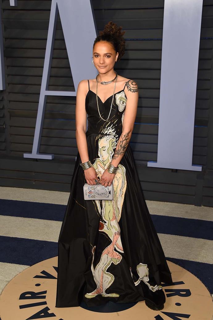 Sasha Lane at the *Vanity Fair* Oscars party.