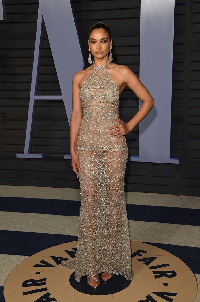 Shanina Shaik at the *Vanity Fair* Oscars party.