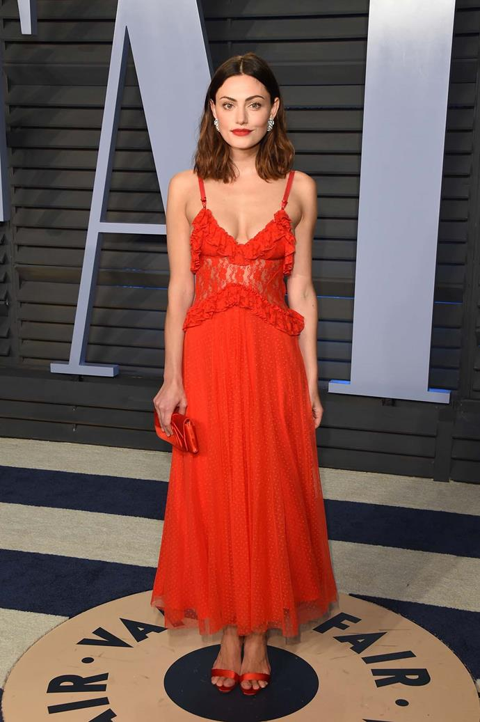 Phoebe Tonkin at the *Vanity Fair* Oscars party.