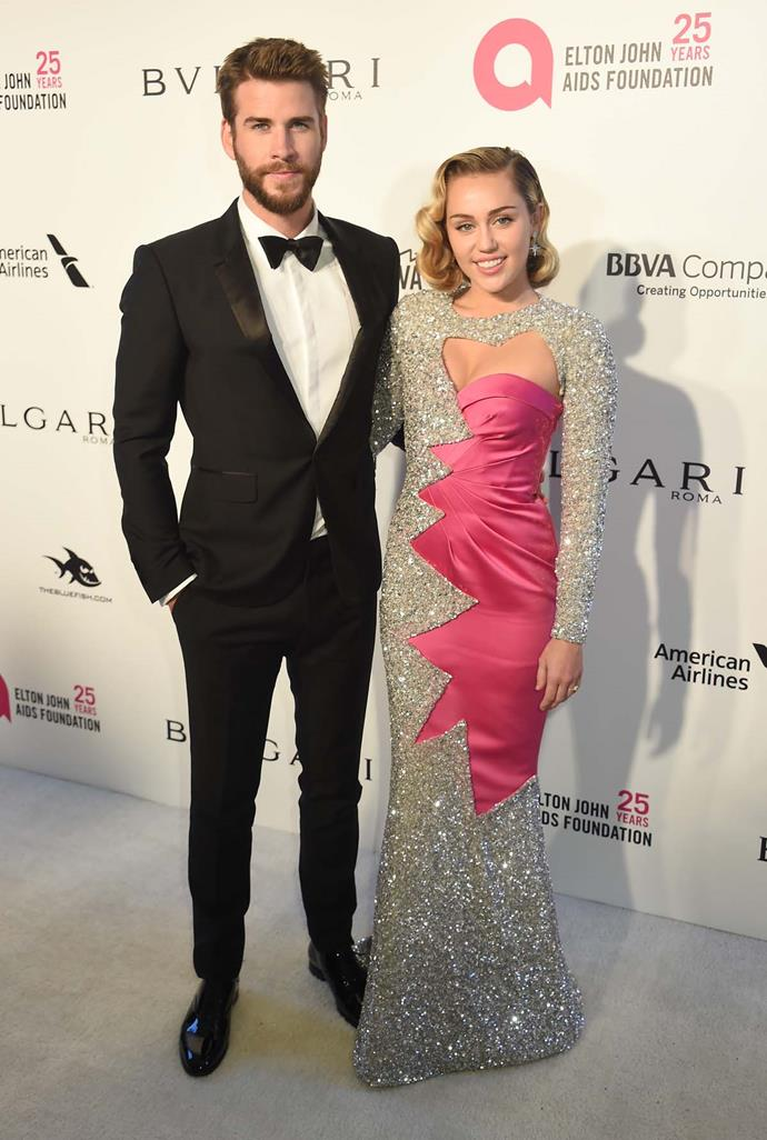 Liam Hemsworth and Miley Cyrus at Elton John's viewing party.