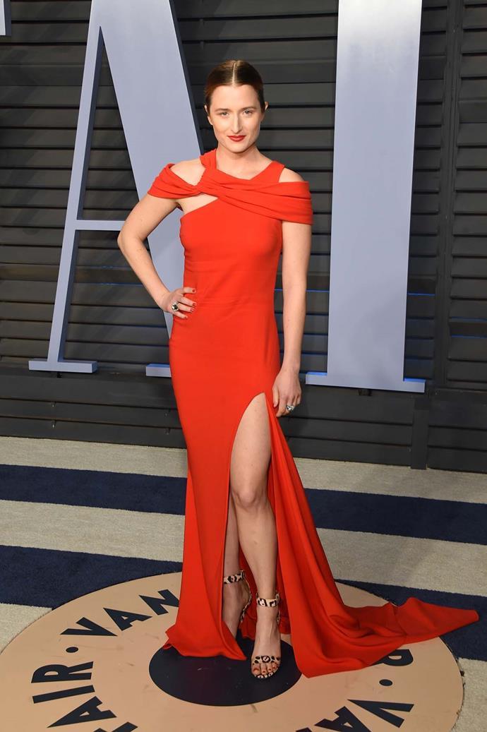 Grace Gummer at the *Vanity Fair* Oscars party.