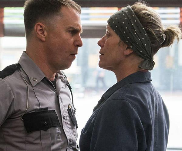 Sam Rockwell and Frances McDormand in Three Billboards.