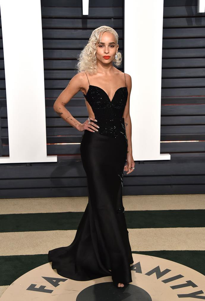Wearing Armani Privé at the Vanity Fair Oscars after party, February 2017