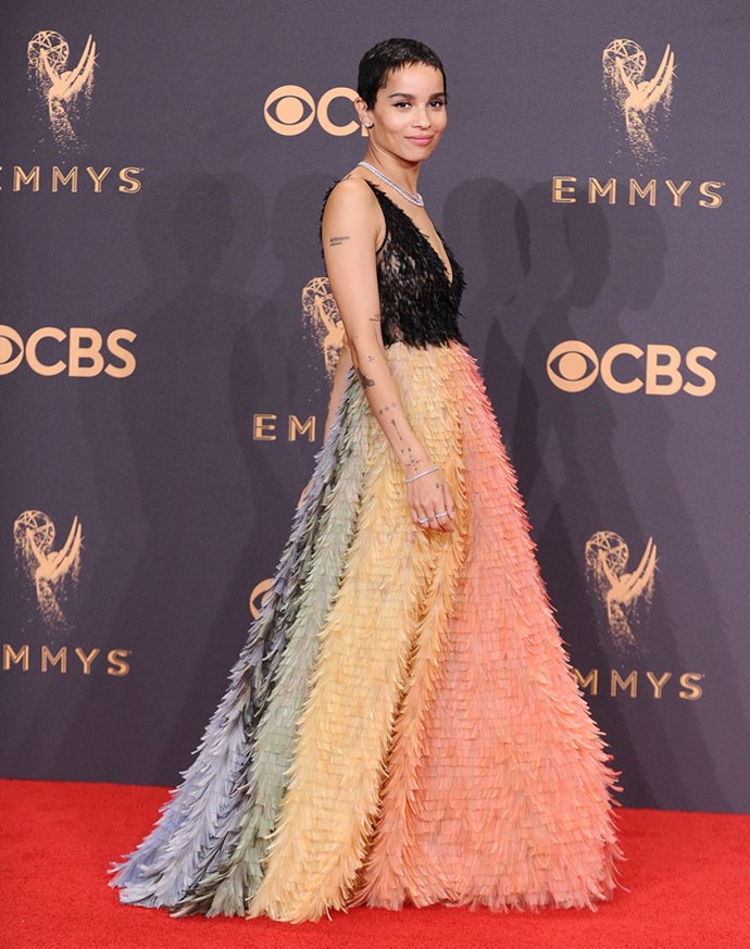 Wearing Christian Dior Couture at the Emmy Awards, September 2017