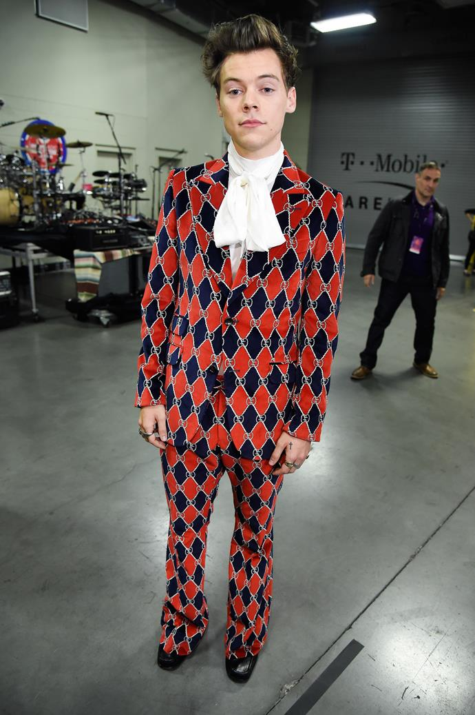 This black and red harlequin suit, with another silk cravat.