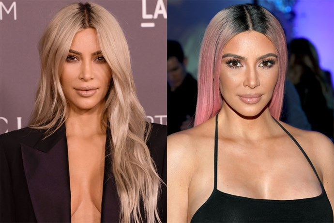 """**Kim Kardashian** <br><br> Just when you thought KKW was done with hair transformations after bleaching her hair blonde, she took her newly dyed tresses up a notch. Kardashian [debuted her bubblegum pink hair](https://www.cosmopolitan.com.au/beauty/kim-kardashian-pink-hair-instagram-26005