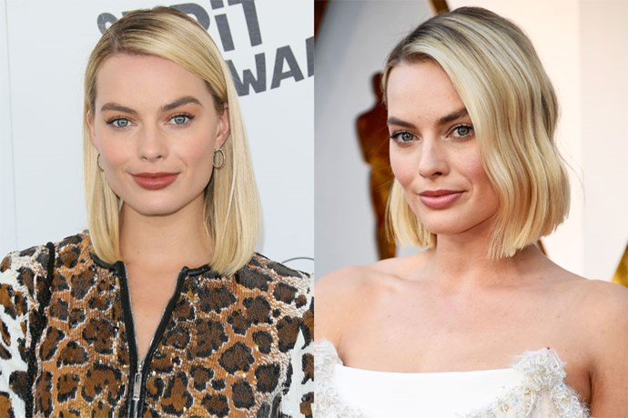 """**Margot Robbie** <br><br> The actress has long teetered between [her token (and eviable) lob, and longer lengths](https://www.elle.com.au/beauty/margot-robbie-beauty-evolution-15815