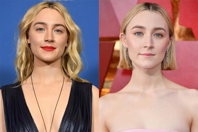 **Saoirse Ronan** <br><br> Apart from a brief flirtation with brunette hair, the actress has long favoured golden blonde tousled waves. Just like Margot Robbie, Ronan chose to debut her brand new bright blunt bob at this year's Oscars.