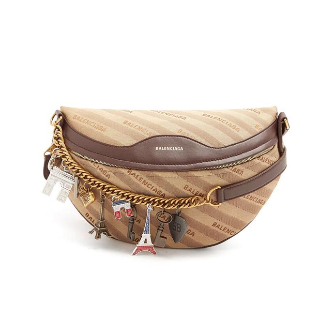 "Belt bag by Balenciaga, $2,150 at [MATCHESFASHION.COM](https://www.matchesfashion.com/au/products/Balenciaga-Souvenir-bag-XS-1202830|target=""_blank""