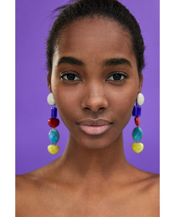 """**Claudia Jukic, Market Editor** <br><br> """"I'm loving anything that looks like I could've made it myself… without having to actually make it myself."""" <br><br> [Earrings](https://www.zara.com/au/en/earrings-with-dangling-stones-p01856007.html?v1=5656517&v2=1009746