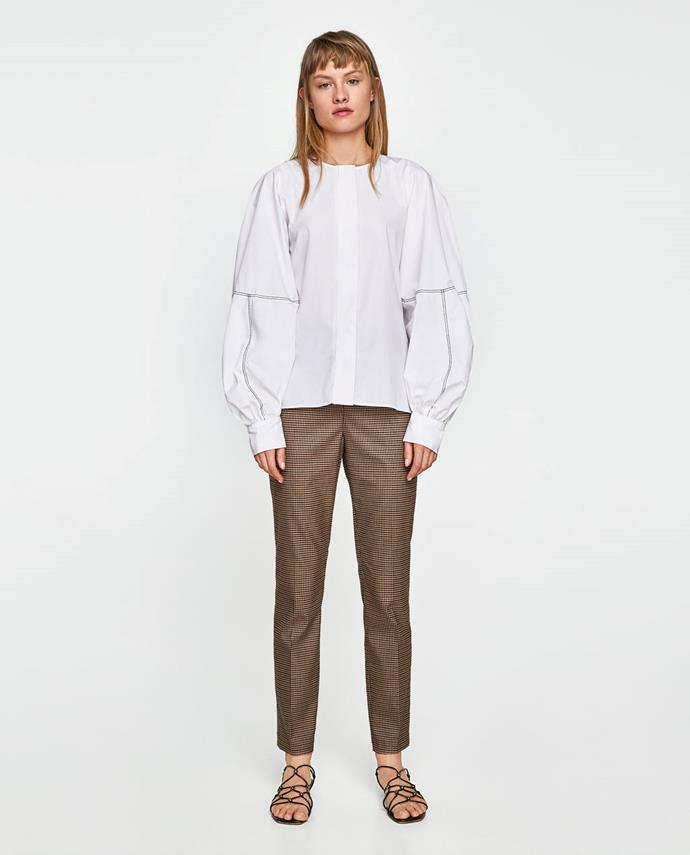 """**Natasha Harding, Digital Fashion Writer** <br><br>  """"High-waisted check trousers are set to be everywhere this season, but opting for a slightly more subtle print means they're going to stand the test of time."""" <br><br>  [Trousers](https://www.zara.com/au/en/high-waist-checked-trousers-p06136243.html?v1=5664438&v2=1009735