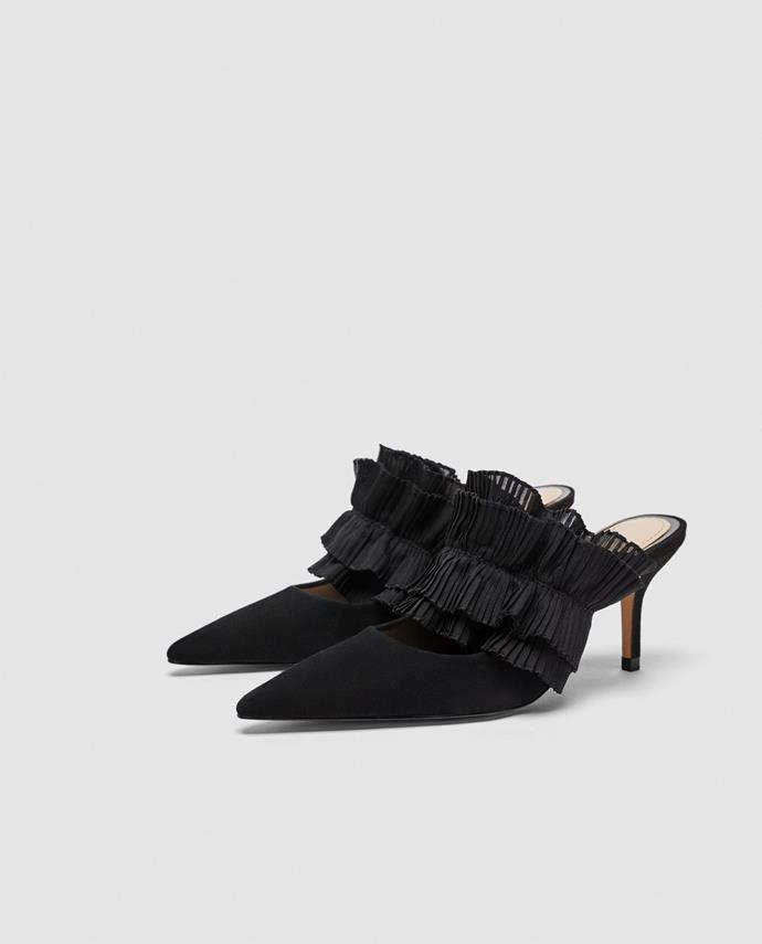 """**Natasha Harding, Digital Fashion Writer** <br><br>  """"These ruffle mules are equal parts elegance and frivolity–they make my heart sing."""" <br><br>  [Shoes](https://www.zara.com/au/en/leather-mule-court-shoes-with-ruffles-p11212301.html?v1=5951029&v2=1010069