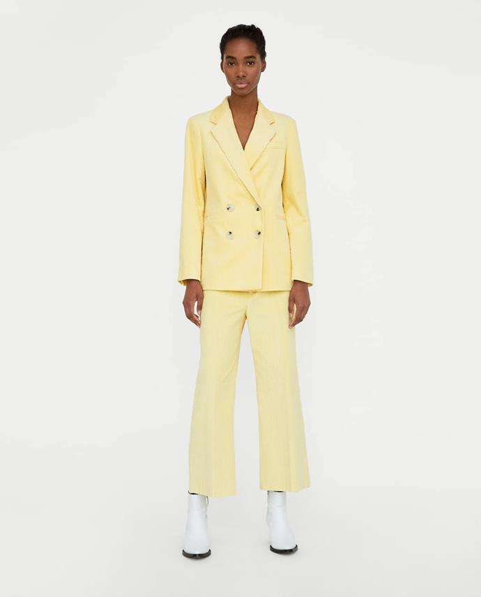 """**Samantha Wong, Fashion Office Co-ordinator** <br><br> """"A playful take on the office power suit, this banana-yellow number makes me wish (for the first time EVER) that the colder weather would come around quicker!"""" <br><br> [Blazer](https://www.zara.com/au/en/double-breasted-corduroy-blazer-p07340723.html?v1=5817786&v2=1010380