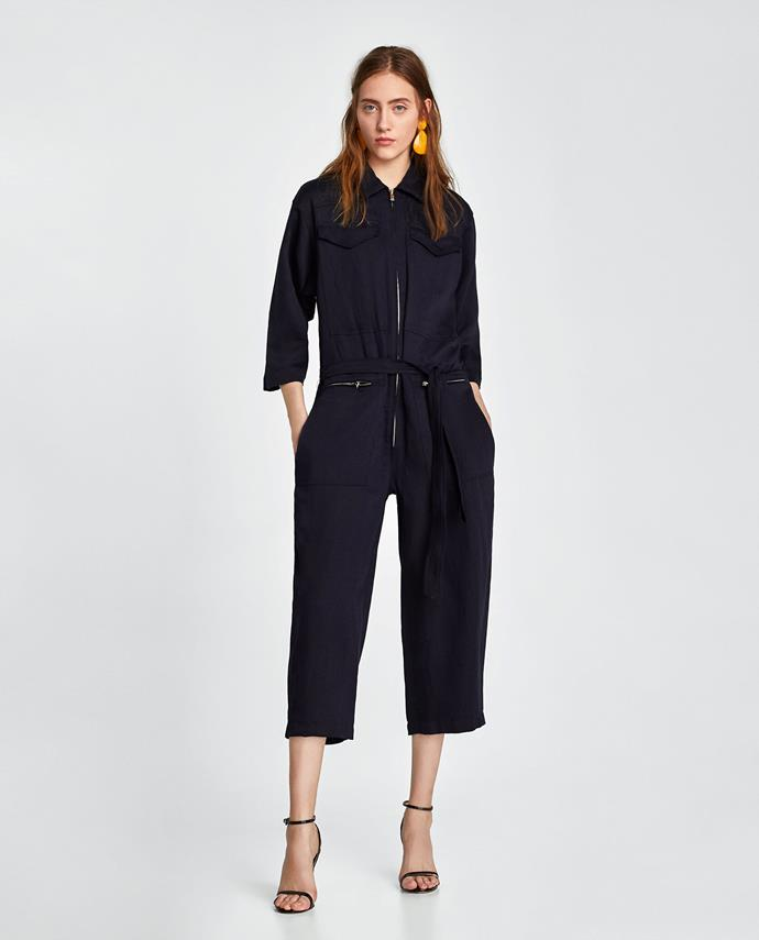"""**Grace O'Neill, Digital Fashion Editor** <br><br> """"I want this cropped jumpsuit, I'm obsessed with boiler suits at the moment and I like the contrasting zipper detail."""" <br><br> [Boiler suit](https://www.zara.com/au/en/cropped-jumpsuit-p07011686.html?v1=5664758&v2=1009839