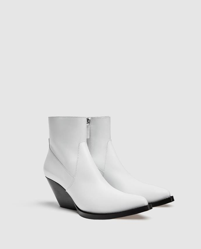 """**Grace O'Neill, Digital Fashion Editor** <br><br> """"I'm also having a love affair with cowboy style boots and I love this white, leather pair. Perfect for freshening up dreary Sydney winters."""" <br><br> [Boots](https://www.zara.com/au/en/leather-cowboy-ankle-boots-p11121301.html?v1=5970537&v2=1010069