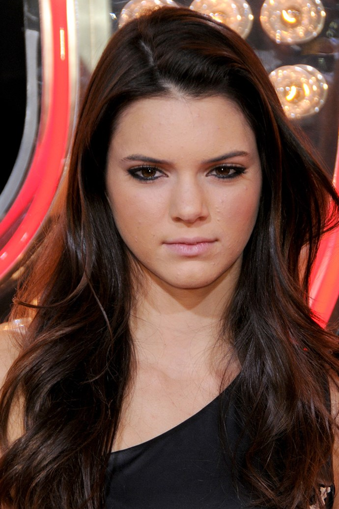 Kendall Jenner sporting heavy eyeliner and a nude lip at the Los Angeles Premiere of 'Burlesque' in 2010/