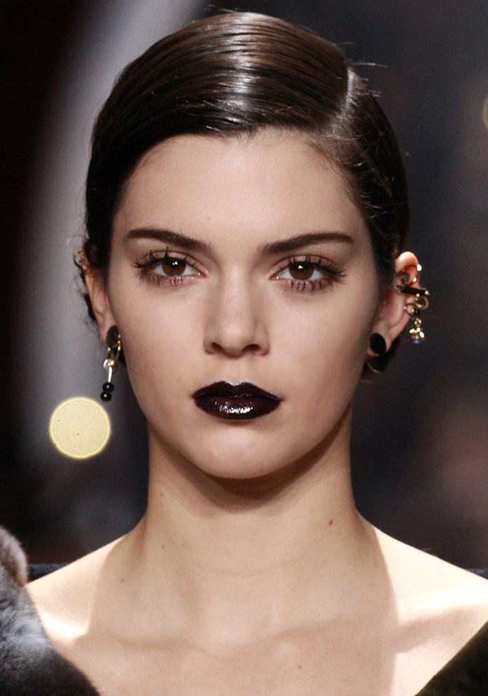 <strong>Dark-side kisses</strong><br> Think: Neve Campbell in <em>The Craft</em> (yes, we went there) or any picture from Drew Barrymore circa 1990-something and opt for a so-now dark lipstick. From deep burgundy to chocolate browns, dare pucker up to this trend. Just leave your lipliner at the door.<br> <em>Celeb: Kendall Jenner</em>