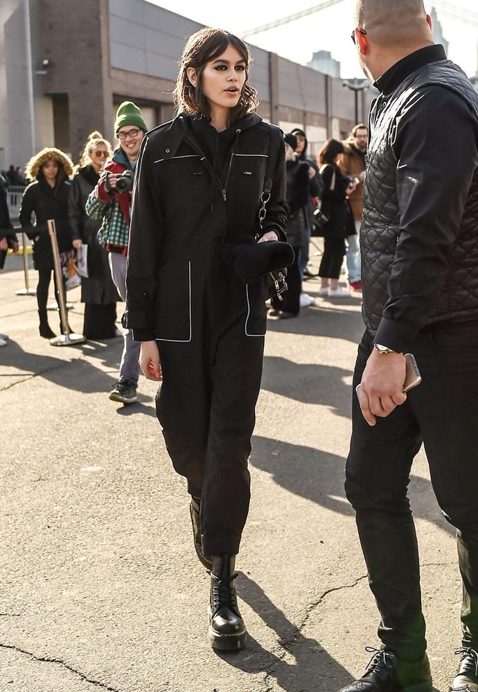 At New York Fashion Week, 13 February 2018