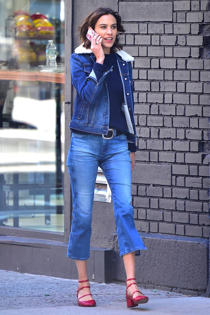 Style maven Alexa Chung stepped out in New York City wearing triple strap red Zara heels.