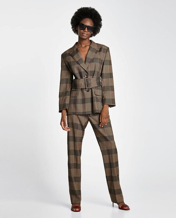 "No longer available. Shop similar blazer, [$139](https://www.zara.com/au/en/checked-double-breasted-coat-p07901234.html?v1=5655829&v2=1010155|target=""_blank"") at Zara."