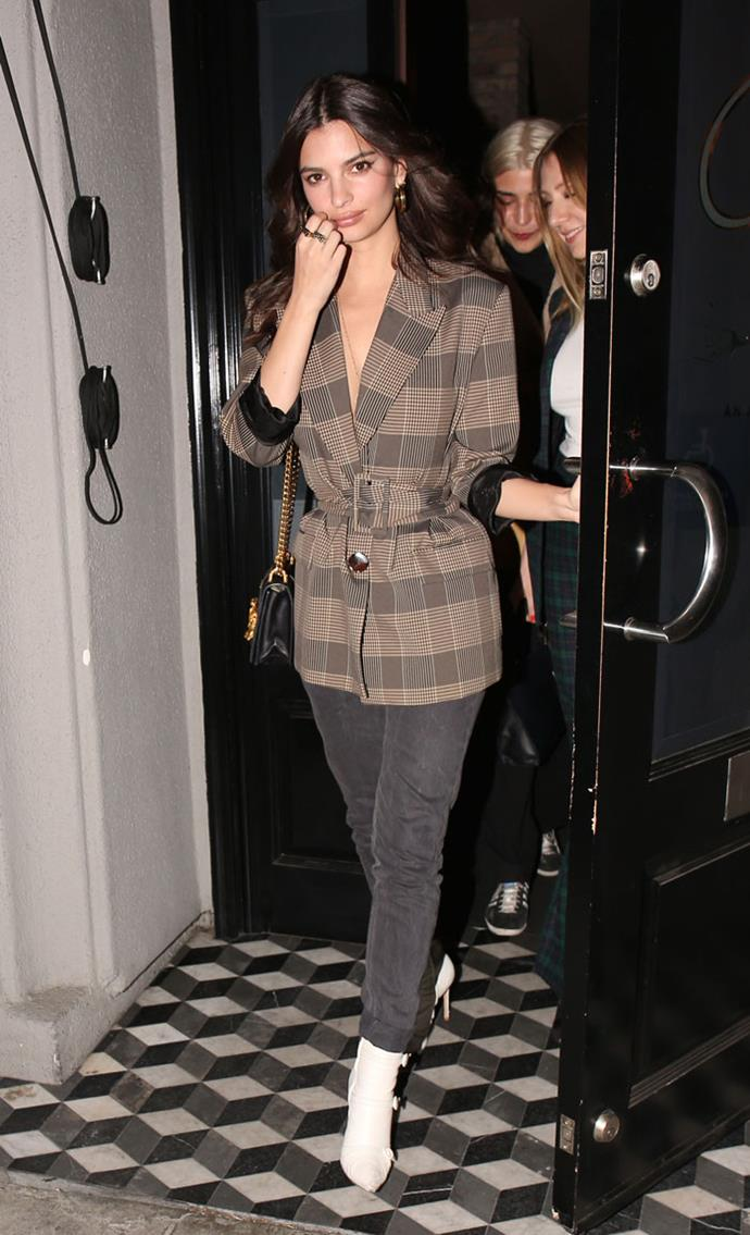 "Followed by [another plaid suit](https://www.harpersbazaar.com.au/fashion/emily-ratajkowski-second-zara-suit-15895|target=""_blank"") just days later."