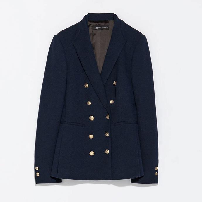 "No longer available. Shop similar, [$139](https://www.zara.com/au/en/blazer-with-contrasting-scarf-p07325081.html?v1=5817592&v2=1010155|target=""_blank""|rel=""nofollow"") at Zara."